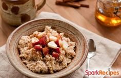Chef Meg's Apple-Cinnamon Slow Cooker Oatmeal - Start the week off right with sweet and creamy slow cooker oats for breakfast. The evaporated milk adds such creaminess that you'll think you're having pudding for breakfast. The Oatmeal, Apple Cinnamon Oatmeal, Vegan Oatmeal, Yummy Oatmeal, Oatmeal Raisins, Oatmeal Yogurt, Oatmeal Diet, Cooking Oatmeal, Overnight Oatmeal
