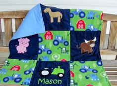 Personalized  fleece flannel farm Baby Blanket by WindaBobbin