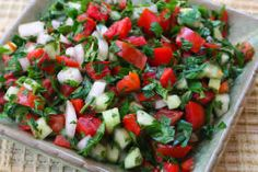 Middle Eastern Tomato Salad. Trying to replicate something I had at the mall food court, of all places.