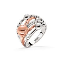 Silver plated large ring with rose gold plated parts from the Style Bonding collection.
