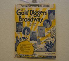 Vintage 1929 Gold Diggers of Broadway Music by FloridaFindersPaper, $10.00