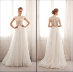 High Neck Short Sleeves See Through Lace Top A Line Wedding Dresses With Tulle skirt