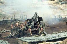 Vietnam War 1st CAV Artillery Crew Fires Their 155 Howitzer