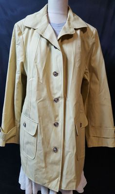 Gallery Women Yellow Short Raincoat Size 2X 2 Large Pockets Button Down #Gallery #Raincoat #Business