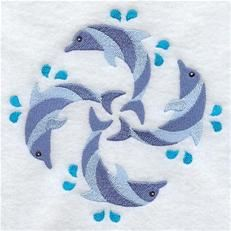 "Dolphins Quilt Block Fill (EL) 4.96""(w) x 5""(h) -- Own It"