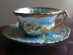 Antique Nippon Exqusite Moriage Hand Painted Water Lilies Cup Saucer Lavish Gilt