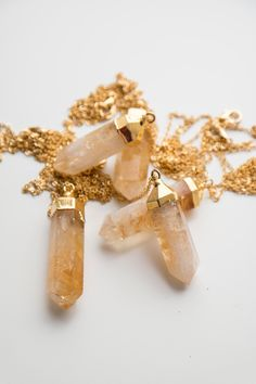 Crystal Necklace Point Citrine Necklace Layered Necklace Gemstone Necklace Gift for Her Tribal Necklace Boho Necklace Girlfriend Gift (24.00 USD) by oliki