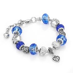 Antique Bracelet Blue with Crystal Beads
