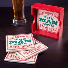 What happens in the man cave, stays there. But just because you re kicking back in the man cave doesn t mean you have to act like an uncouth caveman! This fun (and manly) set of absorbent ceramic coasters...