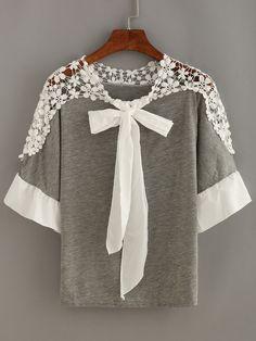 Crochet Shoulder Tie-Neck Top — 0.00 € --------------------------color: Grey size: L,M,S,XL,XXL
