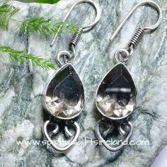 Smoky Quartz Gemstone Crystal Earrings Sterling Silver