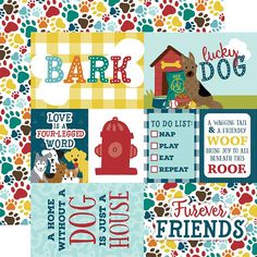PCS Paper FETCH SNIFF TREAT 2 DOG SENTIMENTS 12x12 Double-Sided Scrapbooking