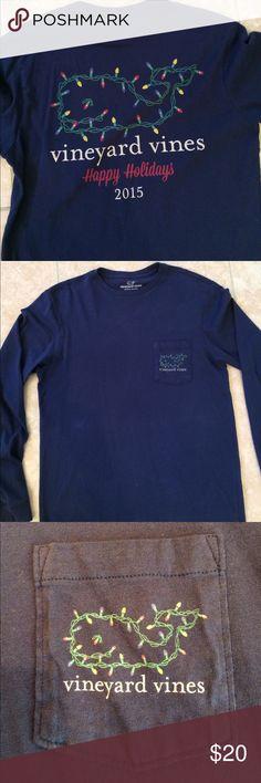 Like new Vineyard Vines Long Sleeve Tee Navy blue Christmas 🎄 Edition. Worn once. Vineyard Vines Shirts Tees - Short Sleeve