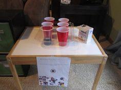 skylanders party, magic element, baking soda and vinegar in cups