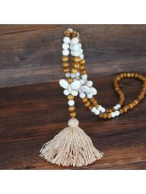 Handmade String Beads Long Necklace - holapick.com Moon Necklace, Tassel Necklace, Women's Necklaces, Vintage Accessories, Women Accessories, Accessories Online, Fashion Accessories, Wooden Beads, Fashion Necklace