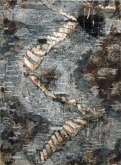 The Spirit of Gray------Anselm Kiefer Die Himmelspaläste 2002 oil, emulsion, acrylic and lead objects on lead and canvas 248 x ca. 213 in. Photo Rob McKeever The Spirit of Gray------Anselm Kiefer Die Himmelspaläste 2002 oil, emulsion, ac. Anselm Kiefer, David Bomberg, Collagraph, Modern Art Paintings, Joan Miro, Equine Art, Wassily Kandinsky, Abstract Landscape, Amazing Art