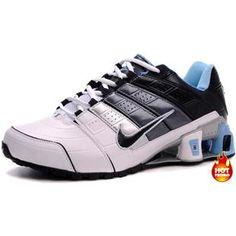 www.asneakers4u.com Mens Nike Shox NZ 2 White LT Blue Black Nike Shox 6db3b008e