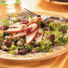 Hazelnut and Pear Salad Recipe -My husband, daughter and I raise hazelnuts in the Willamette Valley-so this salad is a family favorite. Since our home state of Oregon grows pears and cherries, too, I included them in the recipe I dreamed up. —Karen Kirsch, Saint Paul, Oregon
