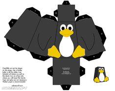 FREE penguin paper toy template / tux-bastelbogen