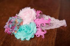 Pink headband with aqua and feather accents baby girl by QuinnRose, $10.00