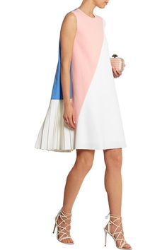 Pastel-pink, cornflower-blue and off-white wool-blend crepe Button-fastening keyhole at back 65% wool, 31% polyester, 4% elastane; lining: 100% silk Dry clean Designer color: Pink/ Blue/ White