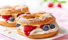 Paris Brest z kremem waniliowym Paris Brest, New Recipes, Cheesecake, Cooking, Bourbon, Breakfast, Food, Mascarpone, Kitchen