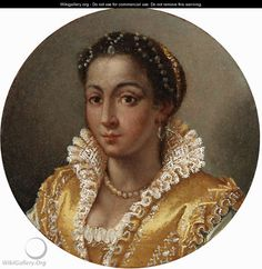 Neckline and partlet in gold with white trim.  love the frill.  Portrait of a girl, bust-length, in a yellow silk dress with a lace collar 1570s Lavina Fontana