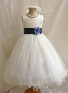 Flower Girl Dresses  IVORY with Blue Navy FD0FL door NollaCollection, $34.99