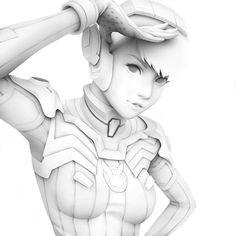 """""""Hand-drawn ambient occlusion pass of my D.Va painting from last year"""" Summer Music Festivals, Ambient Occlusion, 3d Studio, Sci Fi Characters, Anatomy Reference, Mind Blown, How To Draw Hands, The Past, Character Design"""