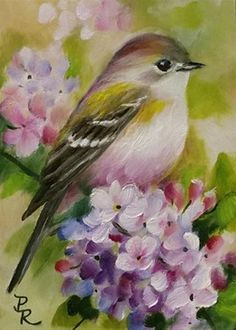 """Daily Paintworks - """"Tiny Lilacs ACEO"""" - Original Fine Art for Sale - © Paulie Rollins Watercolor Bird, Watercolor Paintings, Bird Paintings, Bird Drawings, Bird Pictures, Vintage Birds, Fine Art, Beautiful Birds, Painting & Drawing"""