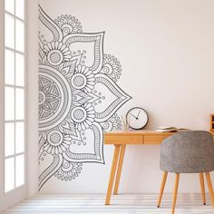 Mandala in Half Wall Sticker Decor for Home Removable Vinyl Sticker for Meditation Yoga Wall Art Living Room Bedroom Mural Wall Decor Stickers, Vinyl Wall Decals, Vinyl Art, Tile Decals, Decals For Walls, Modern Wall Decals, Decorative Stickers, Art Mural, Wall Murals