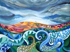 Painting l´huile. 100 cm x 80 cm. 2 kg  Big clouds on the sky, giant waves in the sea and the center of the image, with colours ochre, Red Earth and land.  Humans occupy the central space, looking for a new life.  Movement and geometric shapes with bright colors and pure.  Painted in 2014.