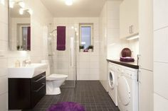 Combine bathroom/laundry for extra space? But washer dryer hidden