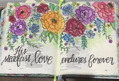 Psalm 136 Bible Art Journaling by @patjournals