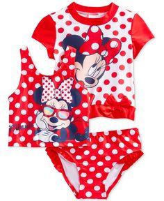 cb0035da8d Minnie Mouse Toddler Girls' 3-piece Rash Guard Set & Reviews - Swimwear -  Kids - Macy's