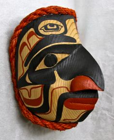 """Ridicule Maquette  Red Cedar, Acrylic Paint, Rope 6 ½"""" x 5 ½"""" x 6""""  Private Collection Vancouver, BC  December 2012"""
