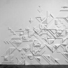 Matt W. Moore's Bold Graphics Go Dimensional - Design Milk Parametrisches Design, Wall Design, Graphic Design, Modern Design, Interior Design, Textures Murales, Wall Cladding, Wall Treatments, New Wall