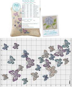 бабочки схема вышивки крестом, подушка с вышивкой, простая и удобная цветная схема, бабочка, бабочки