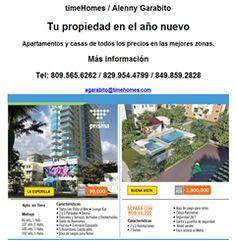 timeHomes / Alenny Garabito Tu propiedad en el año nuevo Apartamentos y casas de todos los precios en las mejores zonas. Más información Tel: 809.565.6262 / 829.954.4799 / 849.859.2828 http://atonopublicidad.com/timehomes/