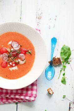 watermelon, tomato and almond gazpacho / recipe
