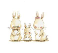 Animal Drawings, Cute Drawings, Children's Book Illustration, Illustrations, Baby Nursery Art, Nursery Prints, Bunny Art, Bunny Drawing, Dibujos Cute