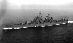 USS Canberra (CA-70) underway, November 1943. The Canberra was the only cruiser to be named after a foreign city.