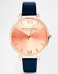 Agrandir Olivia Burton - Montre à gros cadran couleur or rose et bracelet bleu marine