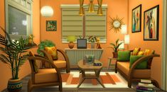 a retro living room Sims 3 Rooms, Sims 3 Living Room, Retro Living Rooms, Living Room Designs, Sims 4 House Plans, Sims 4 House Building, Sims 4 House Design, Casas The Sims 4, Sims 4 Gameplay
