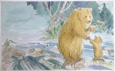 Children's Book Illustration 'Let's go exploring some more, Little Bear, said Big Bear.' From 'Well Done, Little Bear' published by Walker Books Ltd in 1999 By Barbara Firth Bear Character, Brown Bears, Big Bear, Children's Book Illustration, Childrens Books, Exploring, Tattoos, Baby, Painting