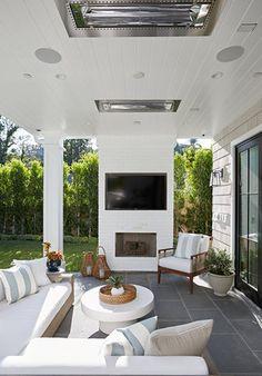 Modern Outdoor Living, Outdoor Living Rooms, Modern Backyard, Backyard Patio Designs, Outside Living, Outdoor Spaces, Backyard Office, Outdoor Kitchens, Porches