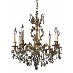 Marseille French Gold Eight-Light 24-Inch Chandelier with Royal Cut Golden Teak Smoky Crystal