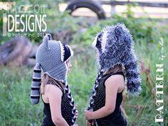 (4) Name: 'Crocheting : Rocky and Ricki Raccoon Crochet Hat