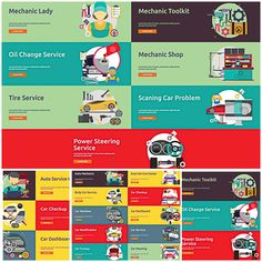 Description: Compilation of auto mechanic, oil service and tire service illustrations for your personal designs. Free for download. File format: .ai and .eps for Photoshop or other vector software. File size: 12 Mb.