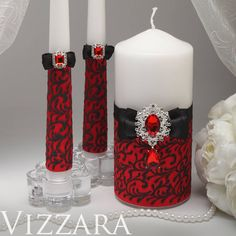 Unity candles Red and black wedding Personalized unity candle Black and red wedding ideas Unity candle ideas Red wedding colors Red Wedding Dresses, Purple Wedding, Wedding Colors, Wedding Ideas, Wedding Stuff, Geek Wedding, Wedding Black, Dream Wedding, Wedding Decorations